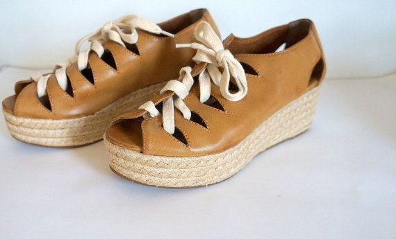 Camel/Tan Leather Lace Up Espadrille Platform Sandals Size 37 (W 6.5-7)
