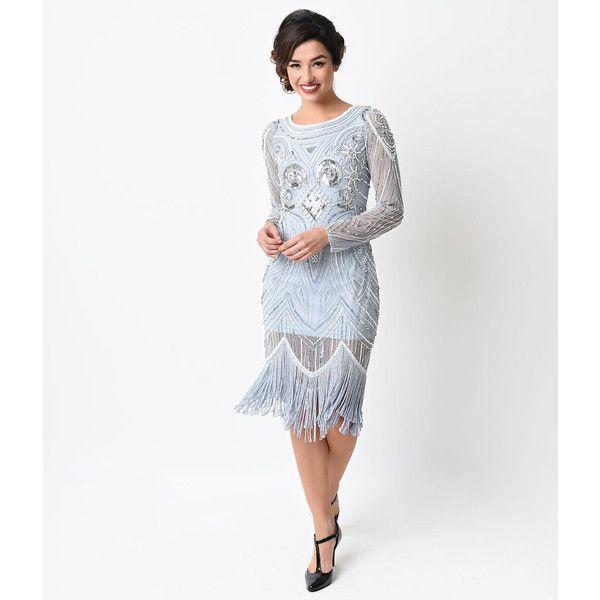 1920s Style Dusty Blue Hand Beaded Long Sleeve Karyn Flapper Dress ...