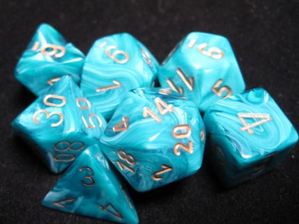 FRP GAMES - PRODUCT - Chessex RPG Dice Sets: Vortex Teal w/Gold