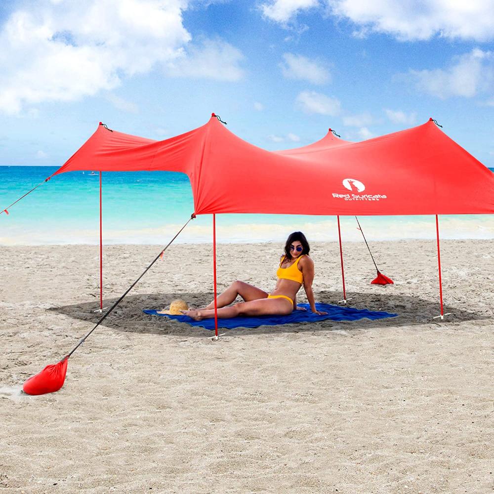 Red Suricata Family Beach Sunshade Sun