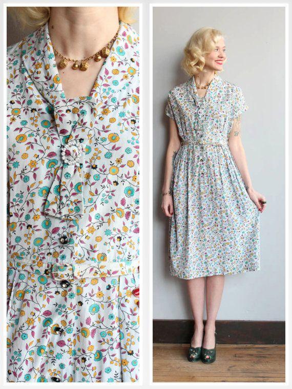 1950s Dress // Spring Vine Dress // vintage 50s by dethrosevintage