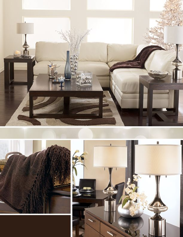 Love The Contrast Of Chocolate Brown White And Silver For The Holidays Apartment Redecorating Home Decor Styles Family Living Rooms
