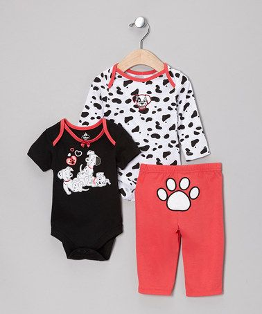 Take A Look At This Pink 101 Dalmatians Bodysuit Set By Disney On Zulily Today Puppies Baby Kids Clothes Baby Disney Baby Girl Clothes