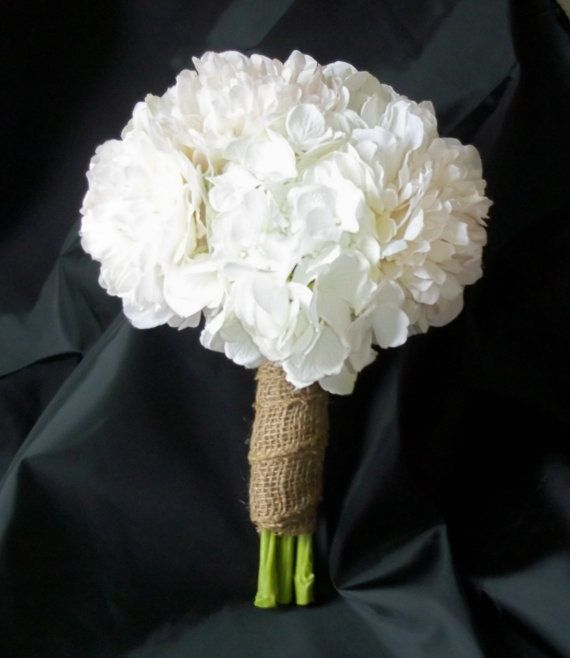 White Hydrangea And White Peony Bridal Bouquet With Burlap Etsy In 2020 Hydrangeas Bridal Hydrangea Bridesmaid Bouquet Wedding Flowers Hydrangea