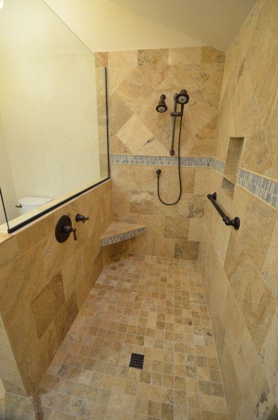 Bathroom Doorless Shower With Beige Patterned Wall And Black Faucet Without Door Design Idea Doorless Shower Master Bathroom Shower Doorless Shower Design