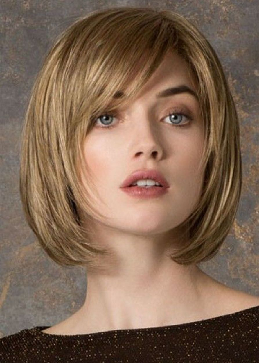 Women S Shorts Bob Layered Hairstyles Straight Human Hair Lace Front Cap Wigs With Bangs 10inch Short Bob Hairstyles Short Bob Haircuts Bob Hairstyles