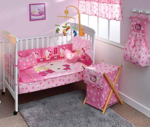 New Hello Kitty Candy Pink Baby Crib Bedding Nursery Set 7 Pc
