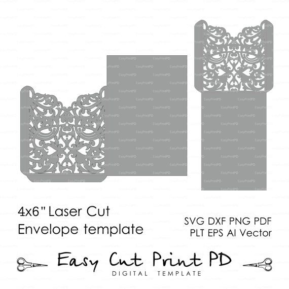 "Scroll Wedding Envelope 4X6"" Pattern Template Swirl (Svg, Dxf, Ai"