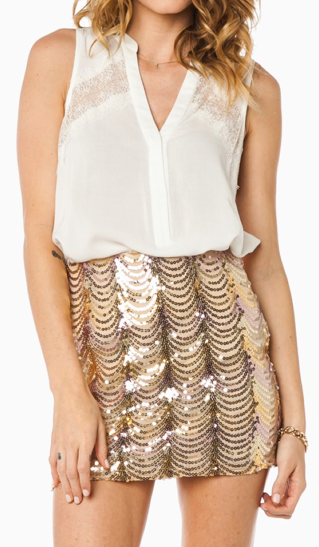 Champagne sequin skirt