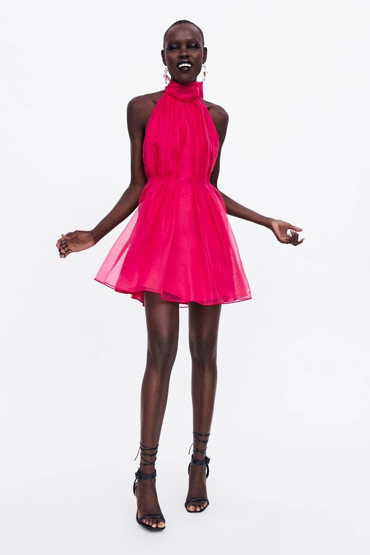purple silk dress zara