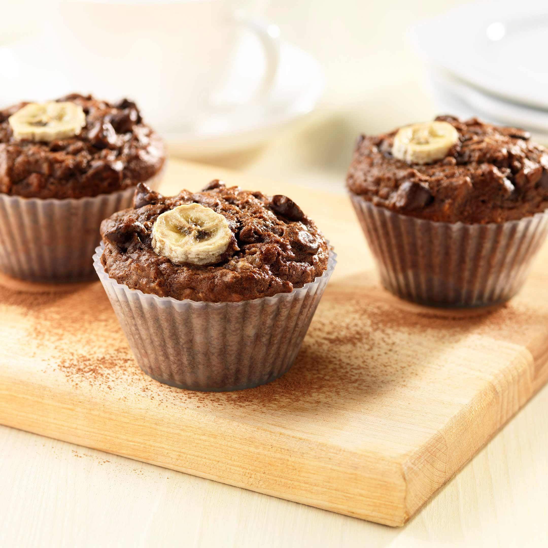 Muffins son, banane et cacao | Recette | Recette, Recette banane, Cuisson