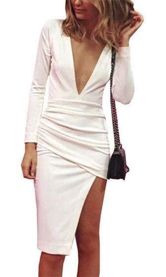 cfc36b9c44 Wine And Dine White Long Sleeve Plunge V Neck Ruched Wrap Asymmetric Bodycon  Mini Midi Dress