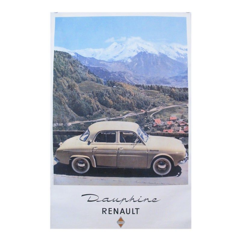1950s French Vintage Car Poster, Renault Dauphine