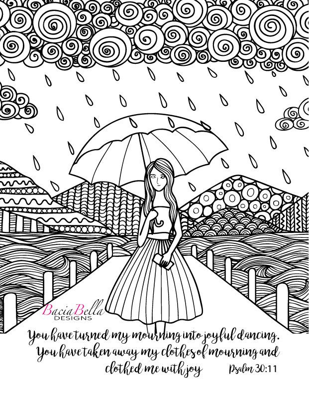 Zen Tangle Umbrella-Psalm 30:11-Adult Coloring Page-You ...