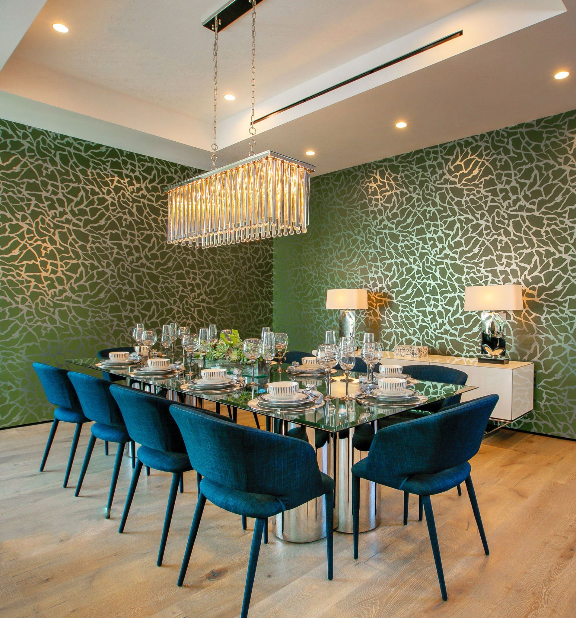 Custom Designed Dining Room With Custom Made Metallic Wallpaper. Modern  Glass Table Design, Modern