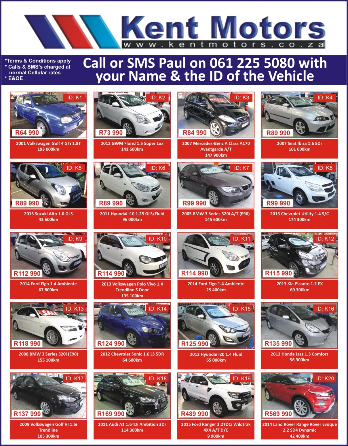 Kent Motors Call Or Sms Paul On 061 225 5080 With Your Name Id