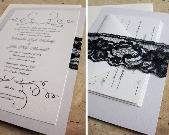 Wedding Invitation Outer Envelope: Lace Wedding Invitations / RSVP Enclosure Card / Outer