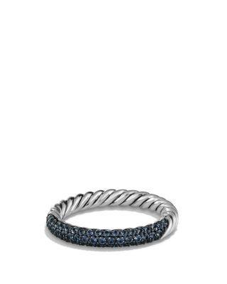 David Yurman Petite Pav Ring with Blue Sapphires Bloomingdales