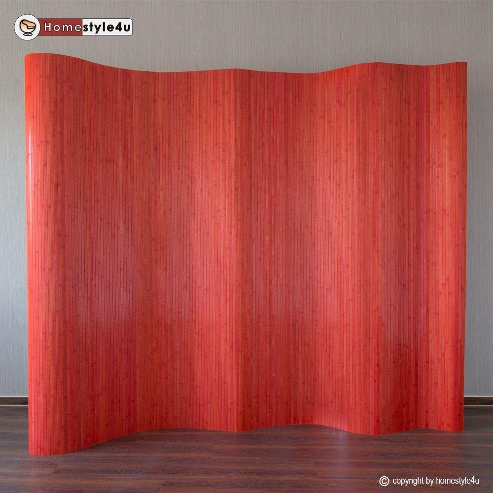 Homestyle4u Paravent Raumteiler Trennwand Sichtschutz rot