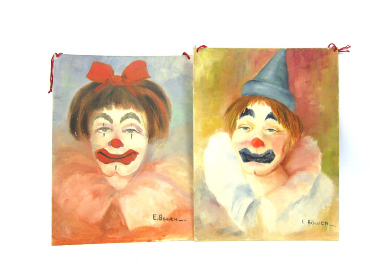 Vintage Clown Paintings Folk Art Circus decor 2 wall hangings Faces ...