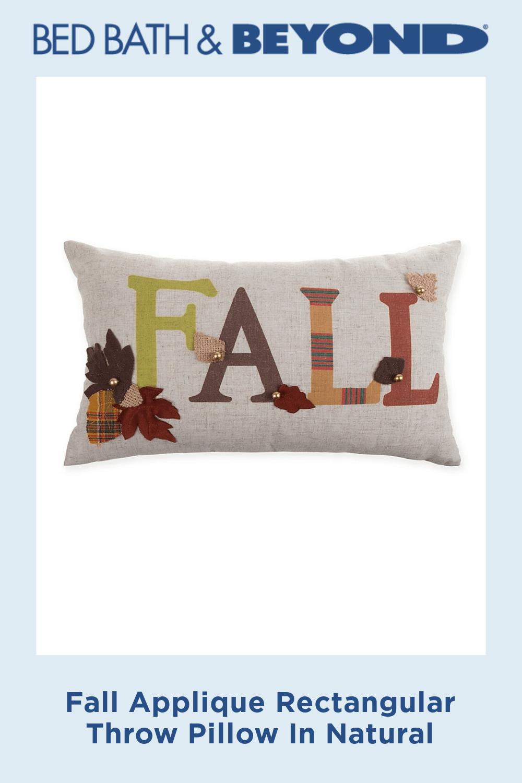 Fall Applique Rectangular Throw Pillow In Natural