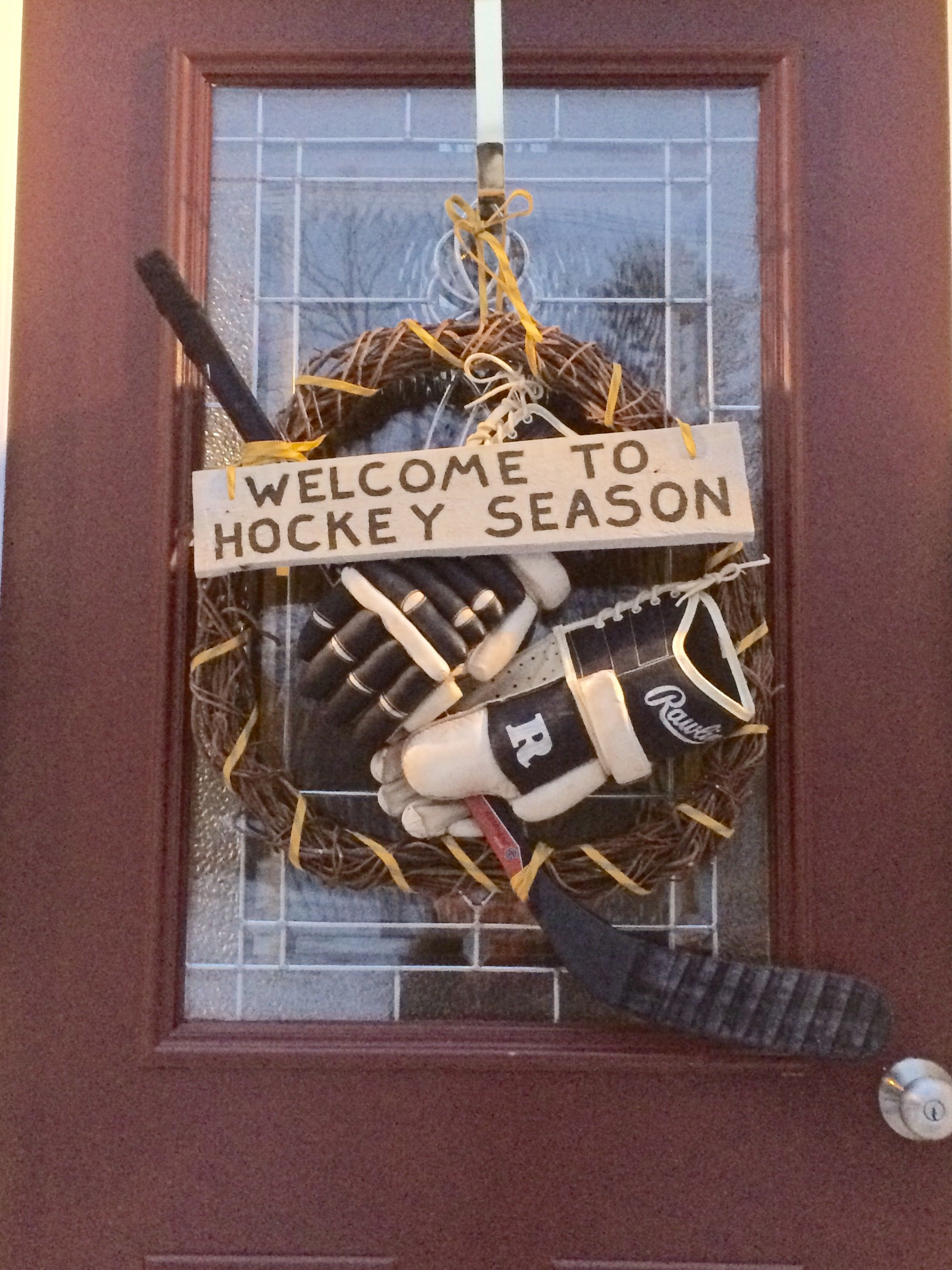 Hockey Season Wreath I Made For Our Lovin Family