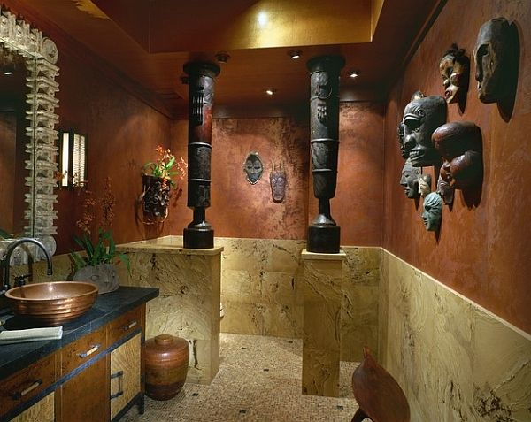 African Inspired Interior Design Ideas Powder Room Drums And