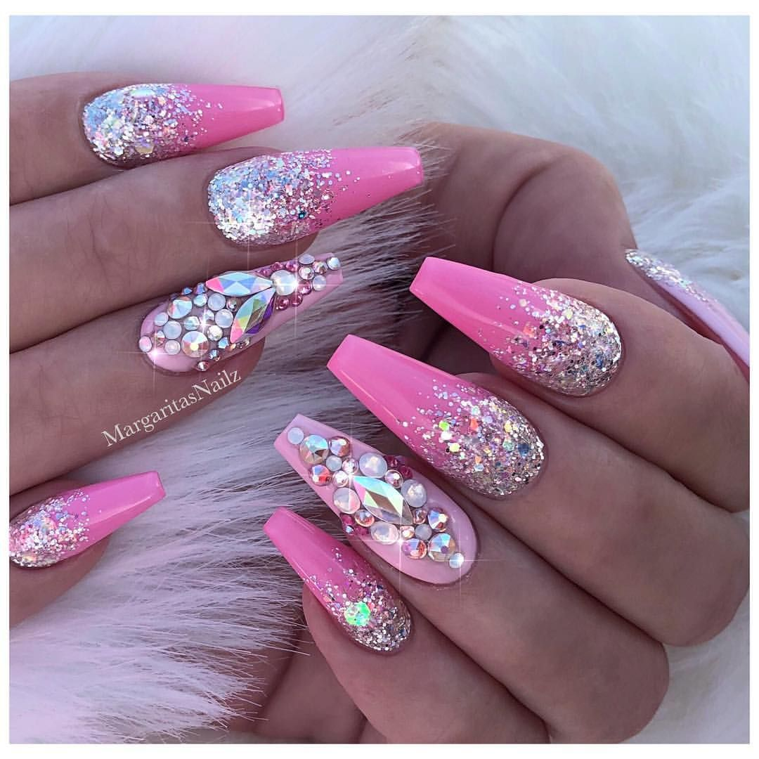 Pink Coffin Nails Silver Glitter Ombré Bling Nail Art Design