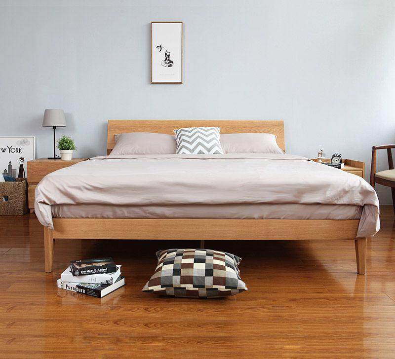 Antoine Wood Bed Frame Solid Oak Wood Bed Furniture Set Bed Furniture Modern Bed Frame