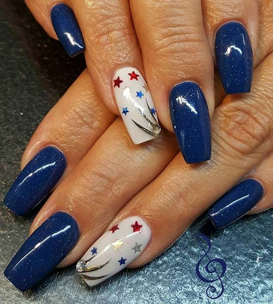 Dark Blue Long Nails With Star Accent Nail For 4th July Design Idea
