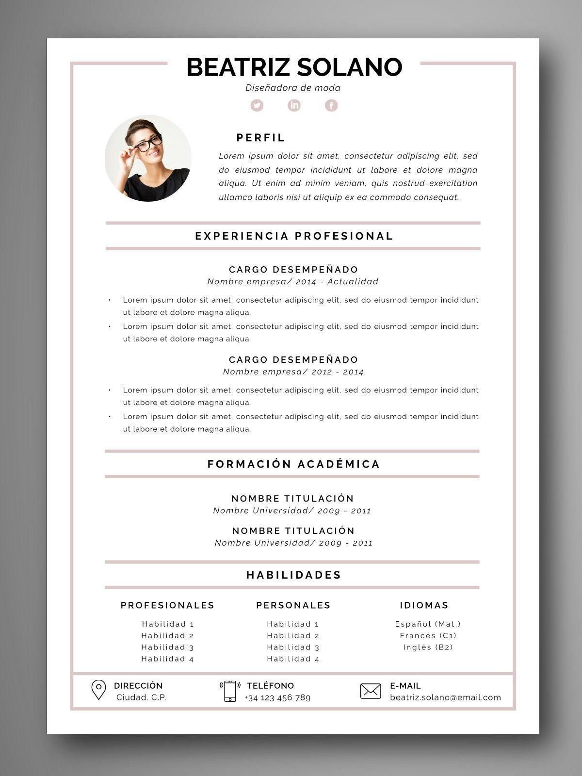 plantilla curriculum español Diseños de curriculum vitae