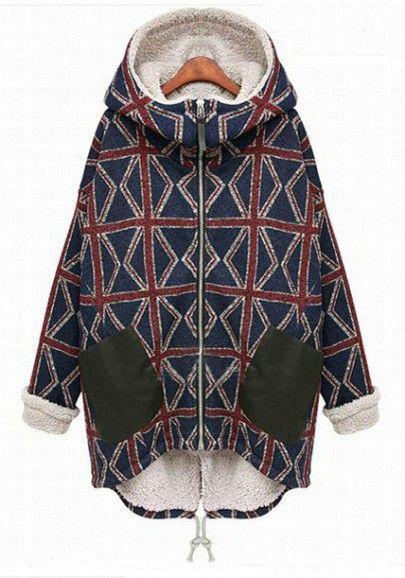 Multicolor Letter Zipper Band Collar Cotton Blend Padded Coat