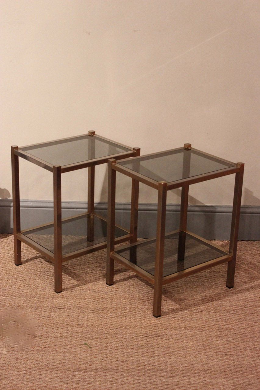 A small pair of 1950s french side sofa tables with glass tops a small pair of 1950s french side sofa tables with glass tops geotapseo Gallery