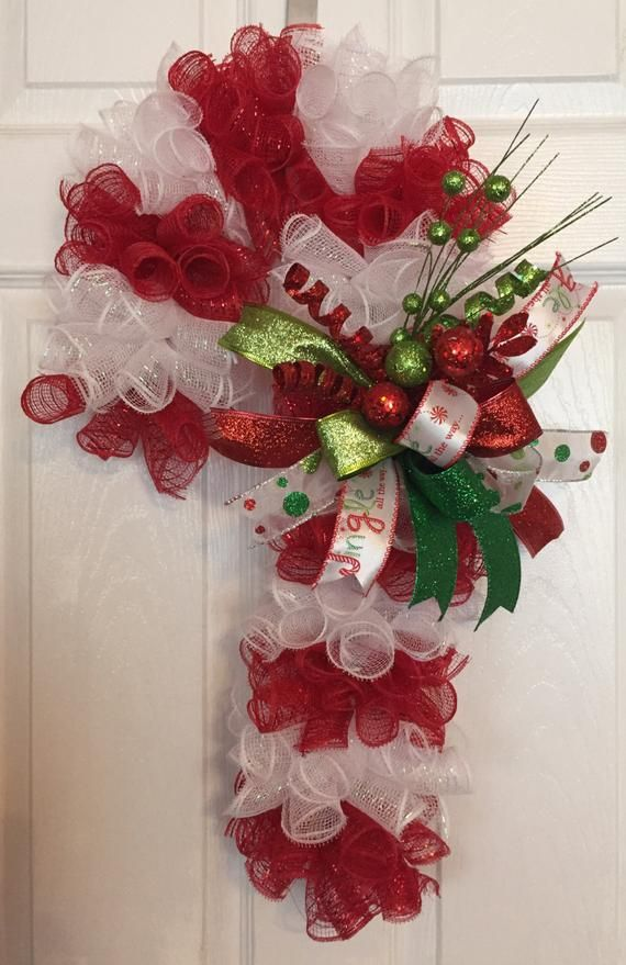 24 Christmas Deco Mesh Candy Cane Wreath/Door Hanger with Bow