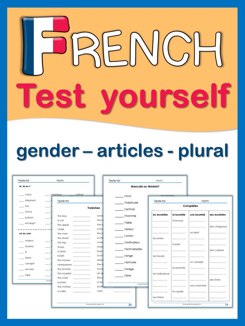 french test yourself gender articles plural tpt misc lessons franz sisch. Black Bedroom Furniture Sets. Home Design Ideas