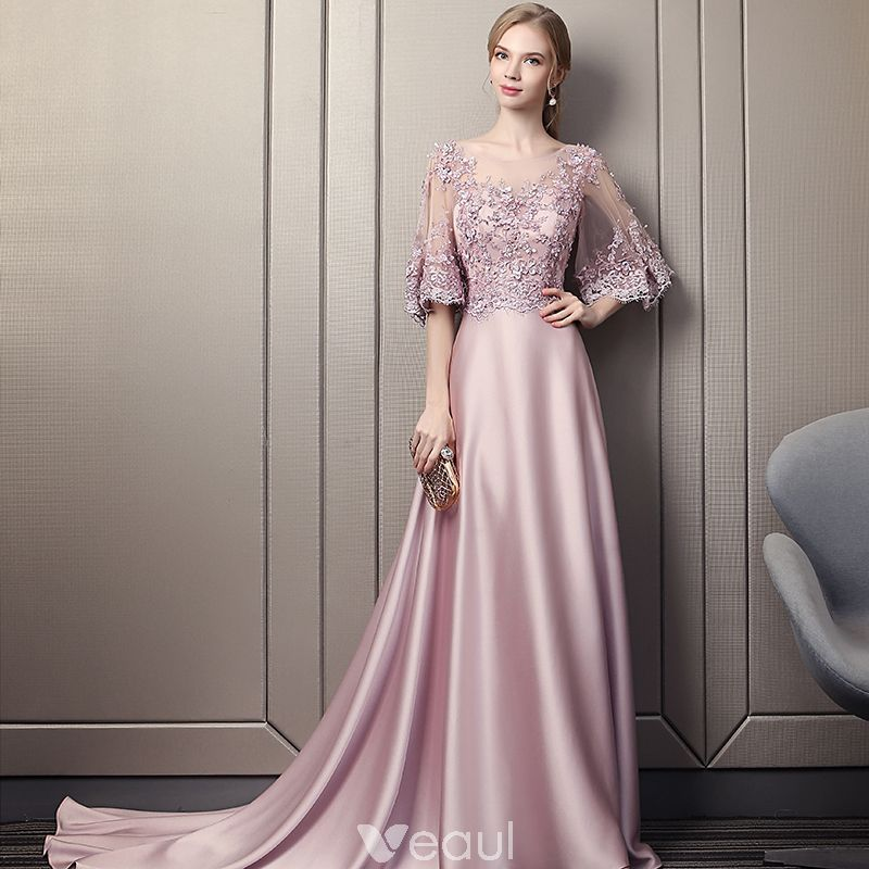 05df333d0f Modern   Fashion Candy Pink Pierced Evening Dresses 2018 A-Line   Princess  Scoop Neck 1 2 Sleeves Appliques Lace Sequins Beading Cathedral Train  Ruffle ...