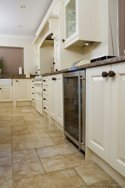 best color of porcelain tile with white cupboards | Traditional ...