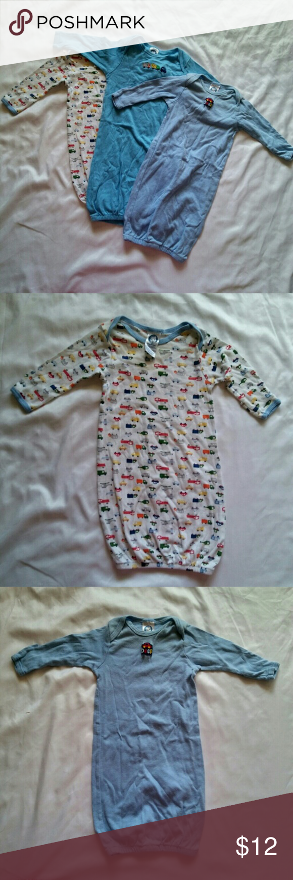 3 Gerber sleeper gowns Super cute lightly used gerber sleeper gowns ...