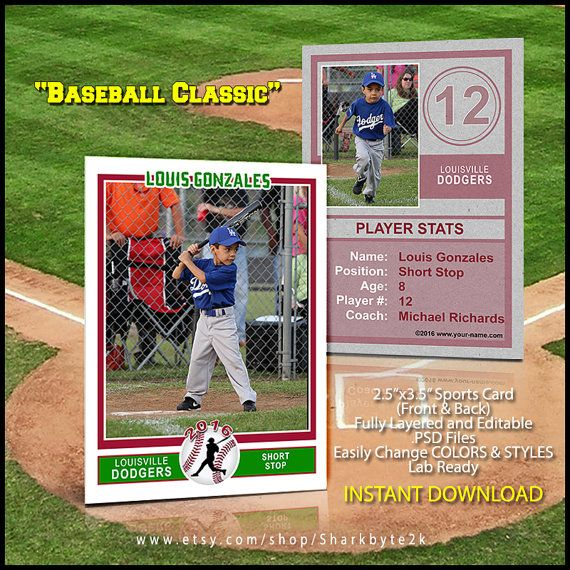 Baseball Sports Trader Card Template For Photoshop Baseball Etsy Baseball Card Template Trading Card Template Baseball Cards