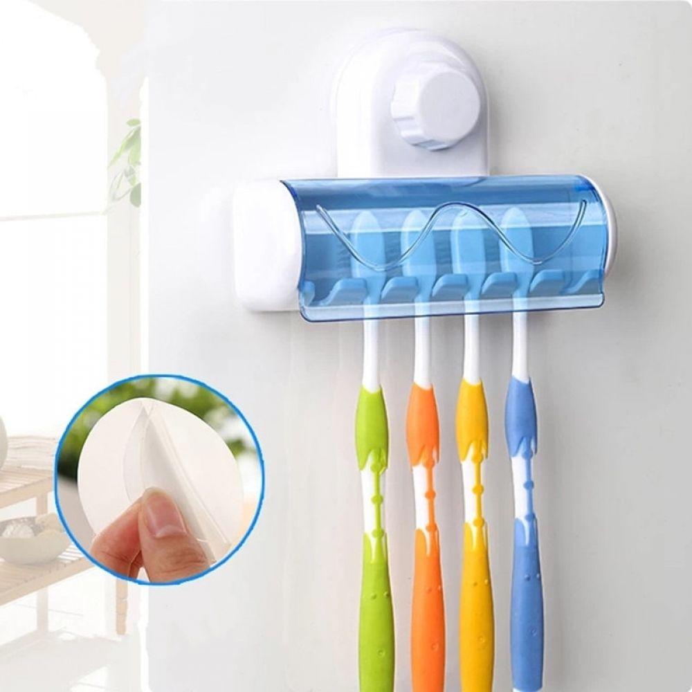 Wall Mounted Tooth Brush Holder Case With 5 Hooks Bathroom Toothbrush Brush Organization Storage Rack Stand Toothbrush Holder Wall Brushing Teeth Suction Toothbrush Holder
