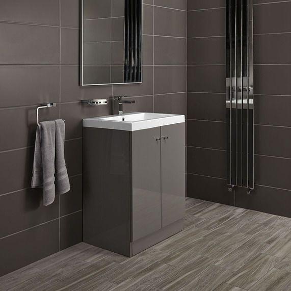 Alpine Duo 600 Basin And Floorstanding Vanity Unit - Gloss Grey