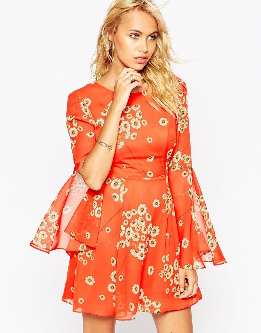 Image 1 of ASOS Fluted Sleeve Dress with V-Back in Red Daisy Print ...