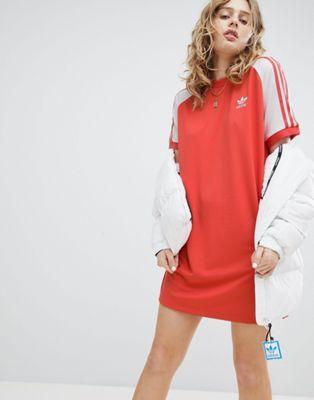 Adidas originali adicolor tre strisce raglan vestito in abiti rossi