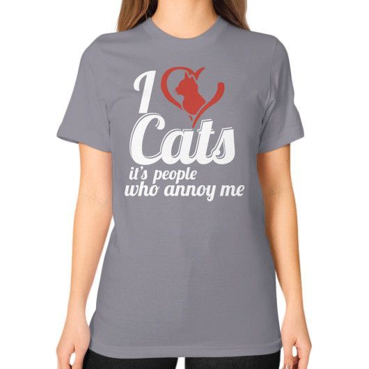 I love cats Unisex T-Shirt (on woman)