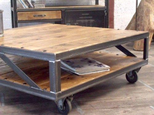 table basse industrielle loft | meubles loft, table basse bois
