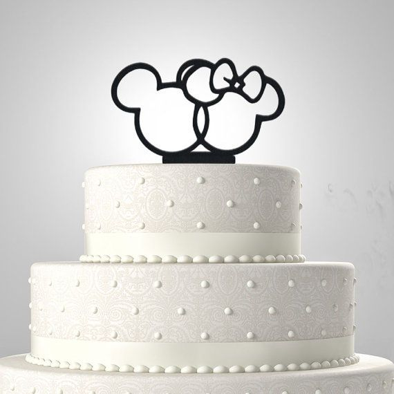 Mickey And Minnie Mouse Heads Wedding Cake Topper