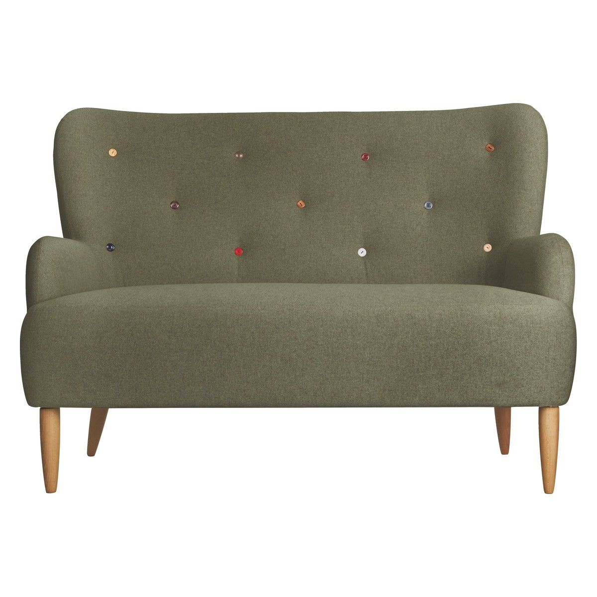 Wilmot Green Fabric 2 Seater Sofa With Multi Coloured