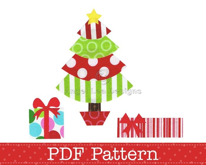 Free Applique Templates Patterns Christmas Tree And Presents Pdf Template For Making Your O Christmas Applique Christmas Applique Patterns Applique Templates
