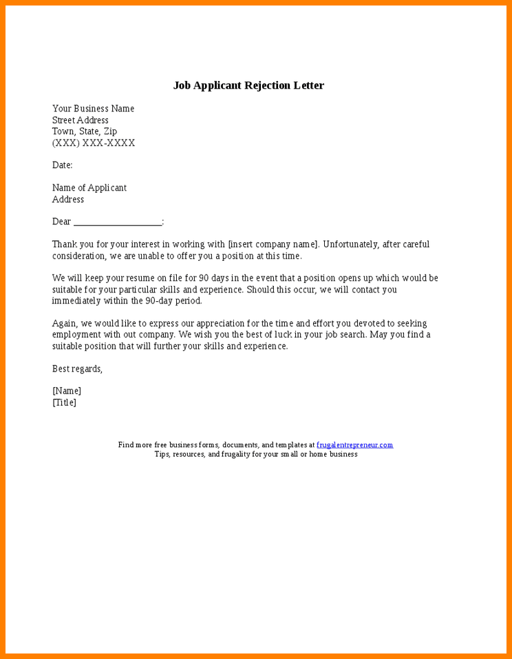 letter sample applicant job rejection leave application forms for