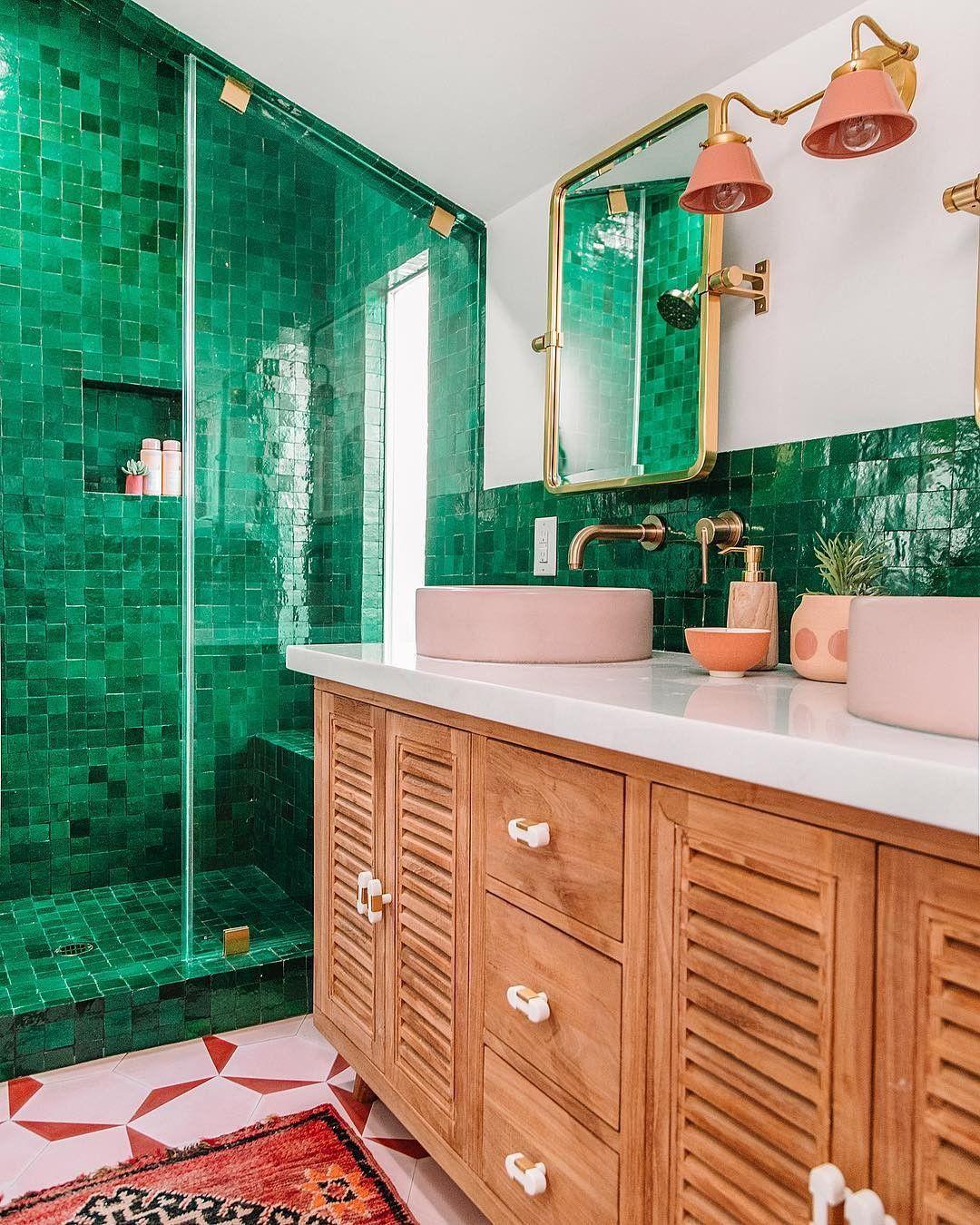 Bright And Bold Green Bathroom Master Bathroom Makeover Bathroom Makeover Green Bathroom